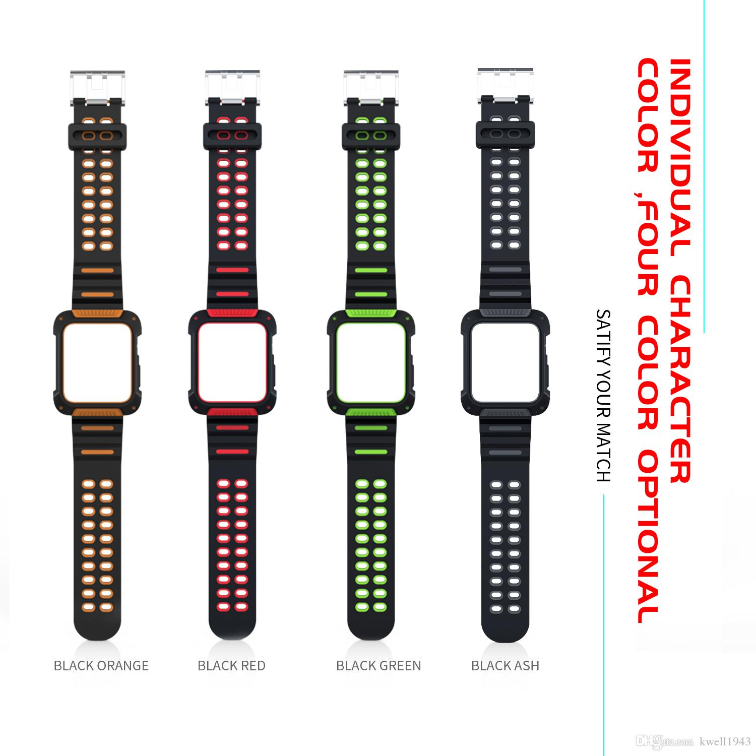 best cheap 3e5c3 cba07 For Apple Watch Series 3 2 1 iWatch 38mm 42mm Rubber Accessory Rugged  Protective Case Cover With Strap Band