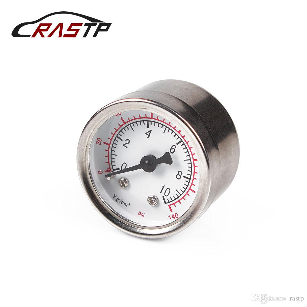 RASTP - Custodia in alluminio Billet 1/8 NPT pressione del carburante Discussione gauge Liquid 0-140PSI pressione olio Fuel Gauge RS-CAP012