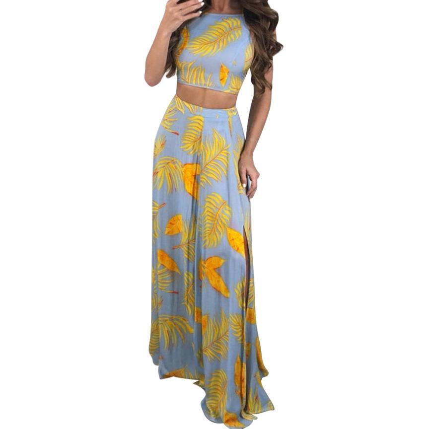 d1deac4dd32e Women Sexy Backless Strappy Leaf Printed High Split Tank Two Piece Long  Dress Fashion Elegant Ladies Loose Dresses Vestidos Women Floral Dress  Ladies Nice ...