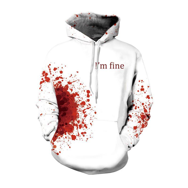 b6dd33c66775 2019 Horror Wound 3D Hoodie Cool Pullover White Halloween Mens Hoodies  Sweatshirts I AM FINE Print Male Hoddies Hooded Christmas From  Chengdaphone02