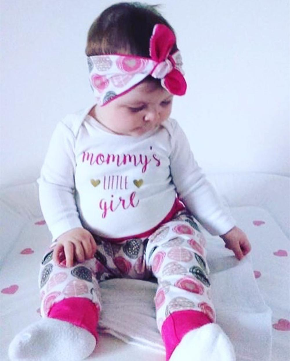 48bcaa9d9688 2019 Newborn Infant Baby Girl Clothes Cotton Long Sleeved Letters Mommy  Little  Girl T Shirt+Pants+Headband Baby Girls Clothing Set Y18120303 From ...