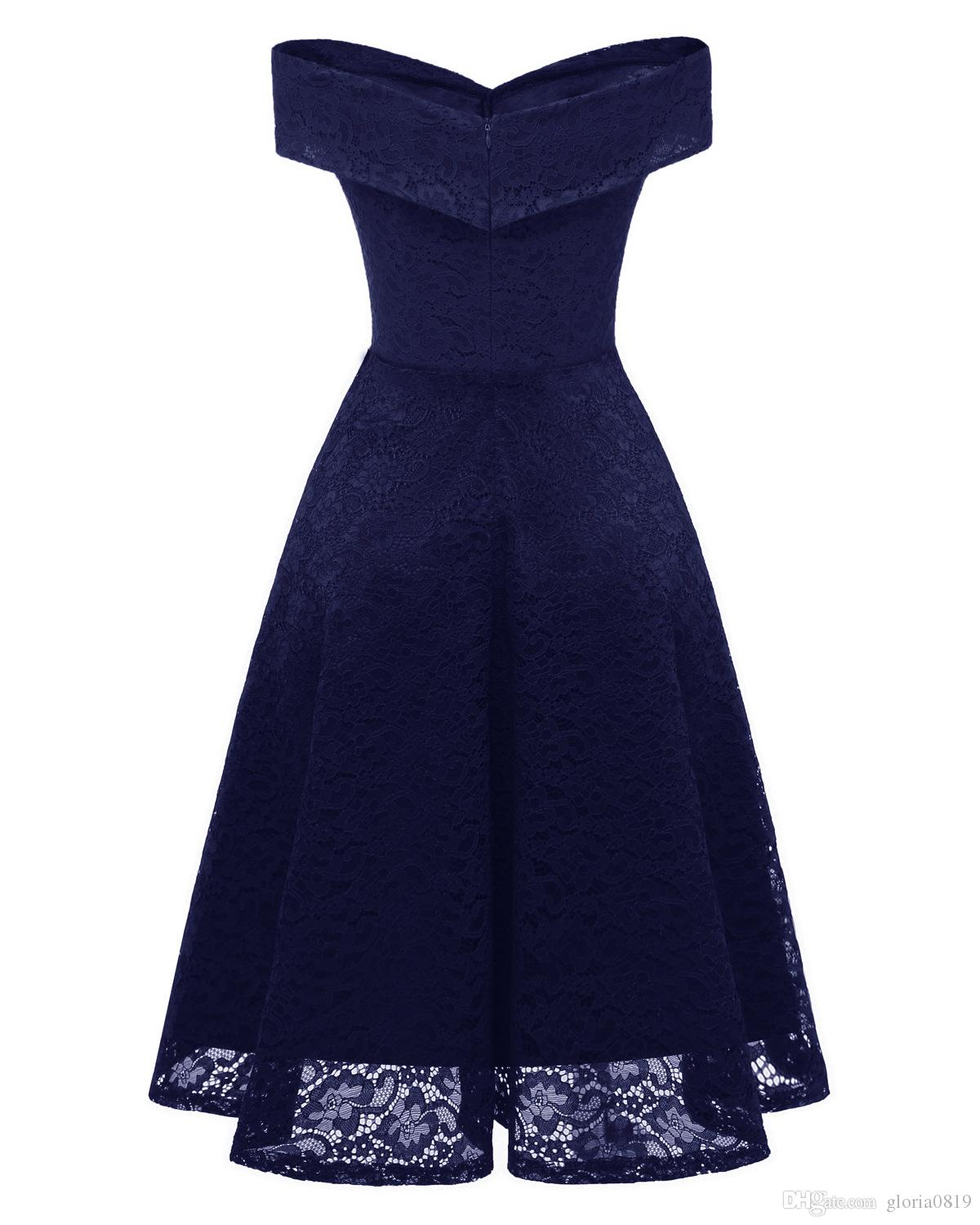 Navy Blue Women Dresses Off Shoulder 2019 Cap Sleeves Knee Length V neck Midi Lace Skater Dresses for Women Prom Party Birthday Holiday
