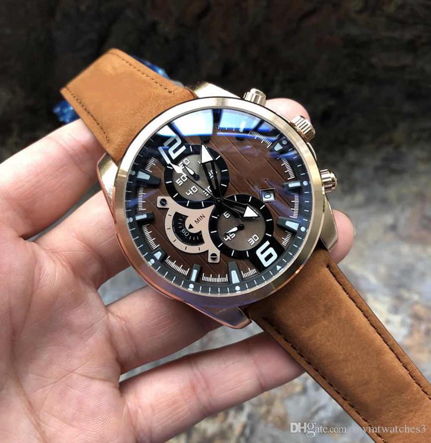 Masculino Cuero El Pulsera Hombre Cronógrafo Marrón Deportivo Para Nuevo Diseñador Relojes Reloj De Moda 1lJTFKc3