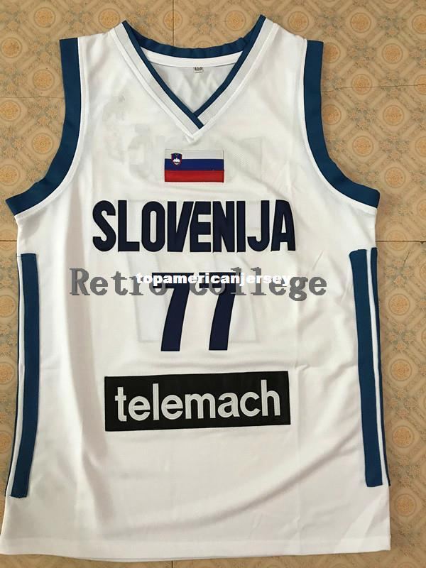 77 Luka Doncic Slovenija Men S White Bule BASKETBALL JERSEY Sewn Stitches  Customize Any Size And Name XS 6XL Vest Jerseys Ncaa UK 2019 From ... 2f1695ab6