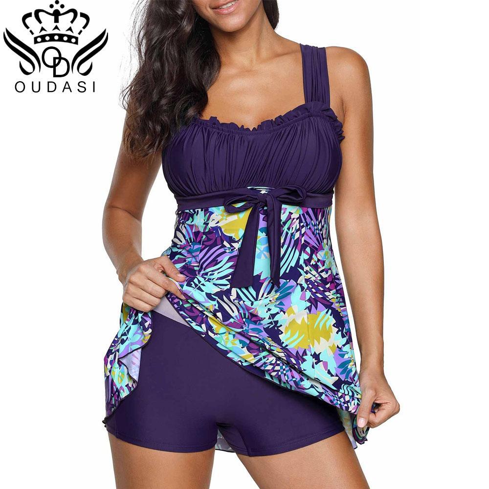 131dd19df92 2019 High Cut Swimdress Plus Size Tankini Swimsuits Floral Print ...