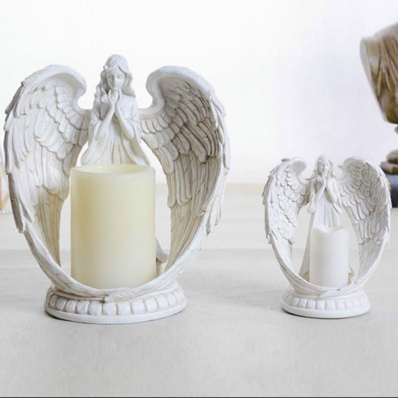 13eb402100 Vintage Candlestick Angel Candle Holders Electronic Candle Polyresin  Candlestick Retro Home Decor Ornament Room Wedding Decoration Candle Holder  Sconces ...