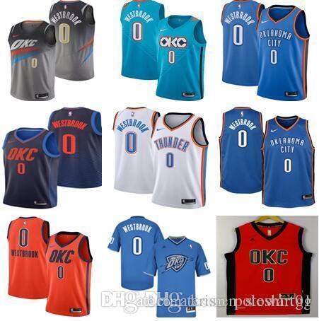 watch d3324 9bec0 Men's Oklahoma City 0 Westbrook Jersey 2018 Thunders New Basketball Jerseys  Stitched City jerseys