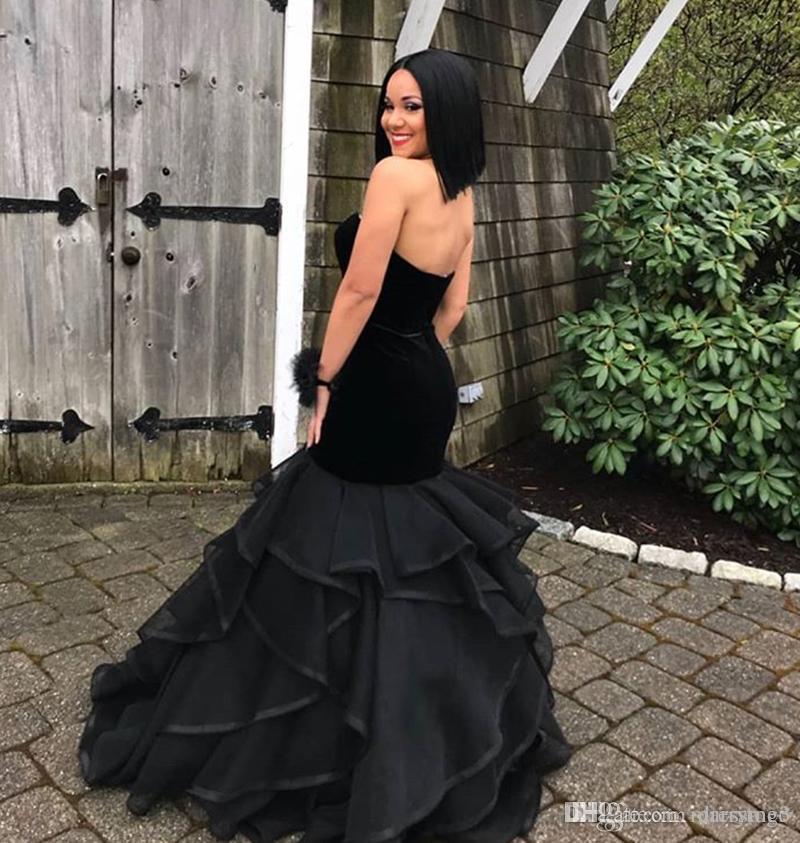 ad9ac2b0986e8 Black Prom Dresses Mermaid Sweetheart Velvet With Sash Floor Length Vestido  De Festa Plus Size Formal