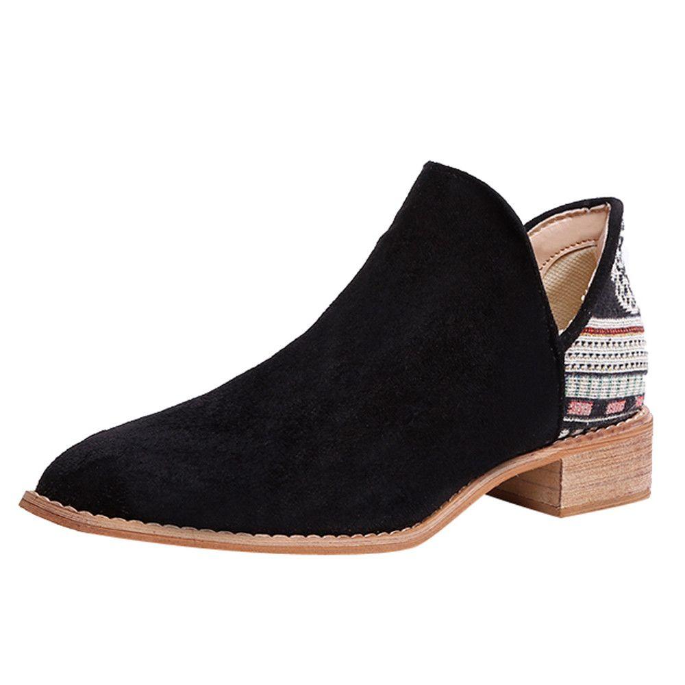 Compre Botas De Tobillo Para Mujer Flock Vintage Zapatos De Tacón Cuadrado  Botines Sin Cordones Botas Martin Zapatos Con Punta En Punta Botines  Femeninos ... 87973f16ee2d