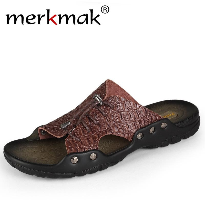 58ea2421fbdb Merkmak 2018 New Men Genuine Leather Holiday Beach Shoes Flip Flops Men S  Casual Flat Shoes Sandals Summer Slippers For Men Hiking Boots Knee High  Boots ...