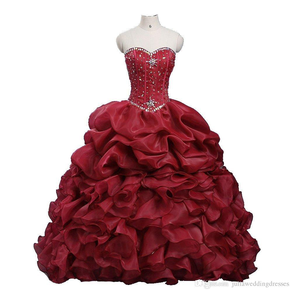 ddc67a753d Crystaled Sweetheart Ruffled Ball Gown Organza Quinceanera Dresses With  Beads Sweet 16 Debutante Cotillion Dresses With Corset Back Wholesale  Quinceanera ...