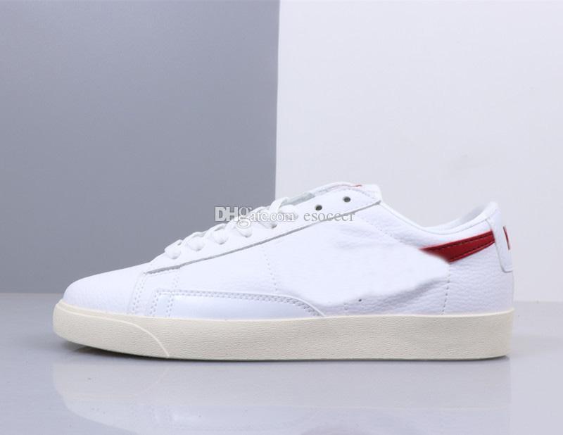 dd6bbfd74b9 Compre 2019 Novo Blazer Tênis Para Homens E Mulheres Branco   Vermelho De  Couro Sapatos De Skate Botas Tamanho 36 44 De Esoccer