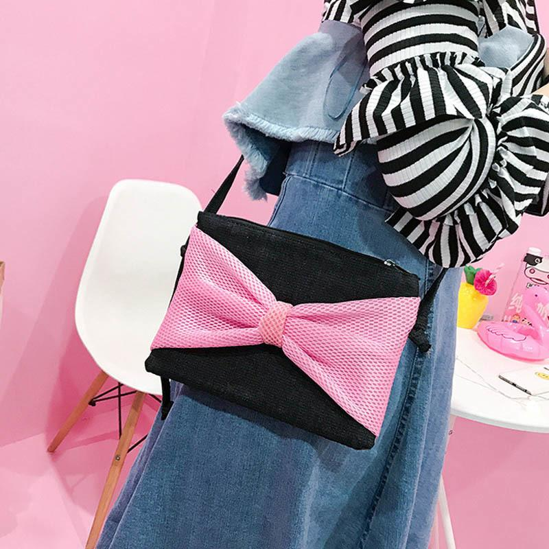 3 Colors Sweet Ladies Mini Shoulder Bag Messenger Phone Coin Pouch Bags Individuality Women Canvas Cute Bowknot Handbag Popular