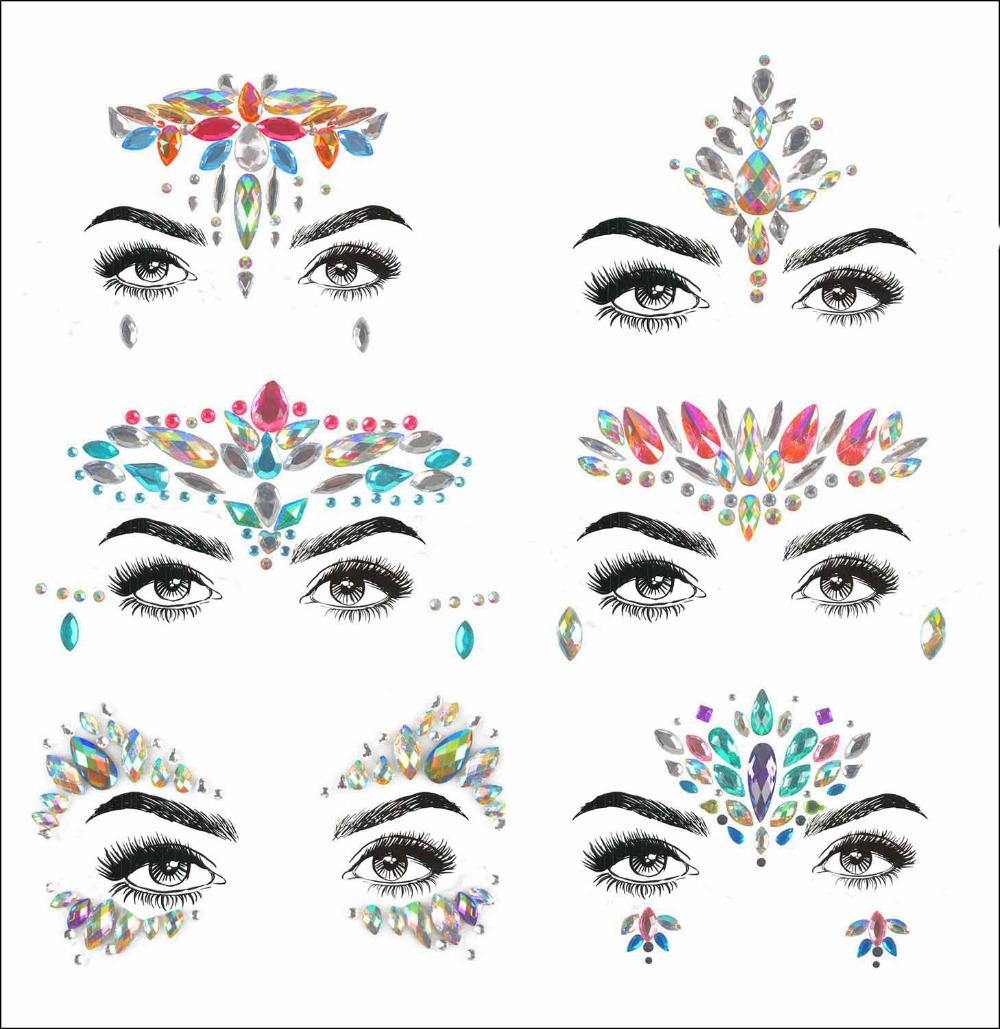 2019 Acrylic Resin Drill Stick Bindi Sticker Handpicked Bohemia And Tribal Style Face And Eye Jewels Forehead Decor Sticker T190711