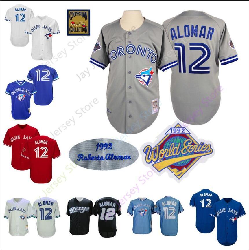 new arrivals d63a6 dc7df Roberto Alomar Jersey 12 Blue Jays 1992 WS World Series Jerseys Toronto  Baseball Home Away Cool Base Cooperstown Men Women Youth