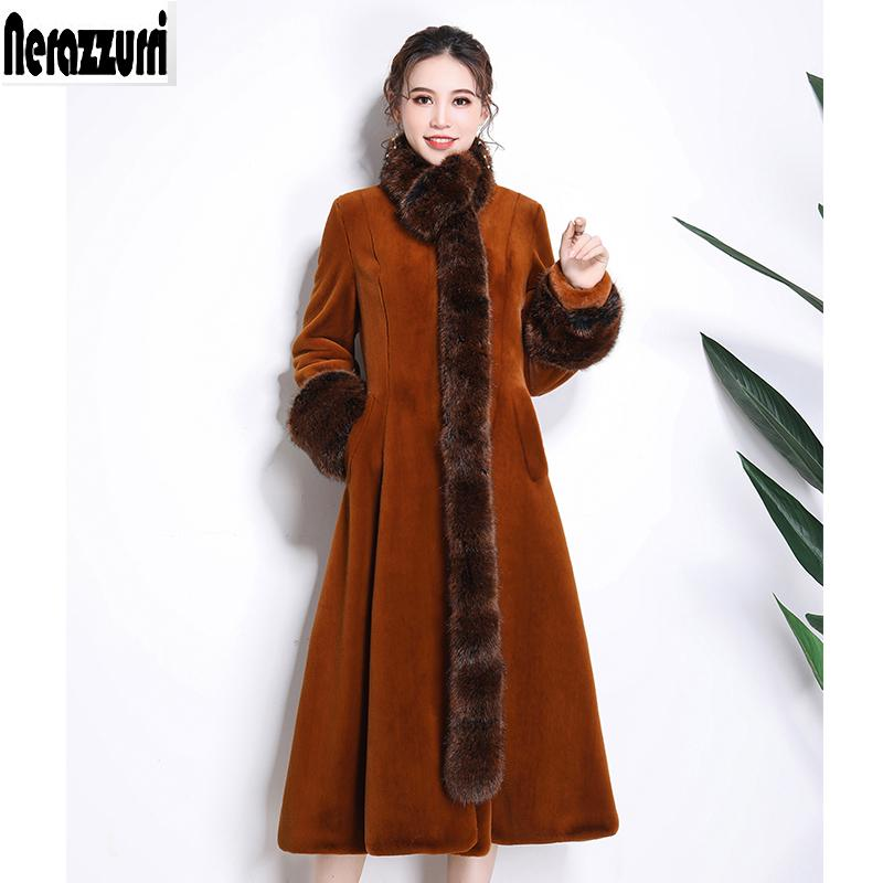d35e2968672 2019 Nerazzurri Faux Fur Coat Women With Detachable Fox Fur Collar Warm  Furry Full Skirt Fake Sheared Mink Overcoat Plus Size 5xl 6xl From Cfendou