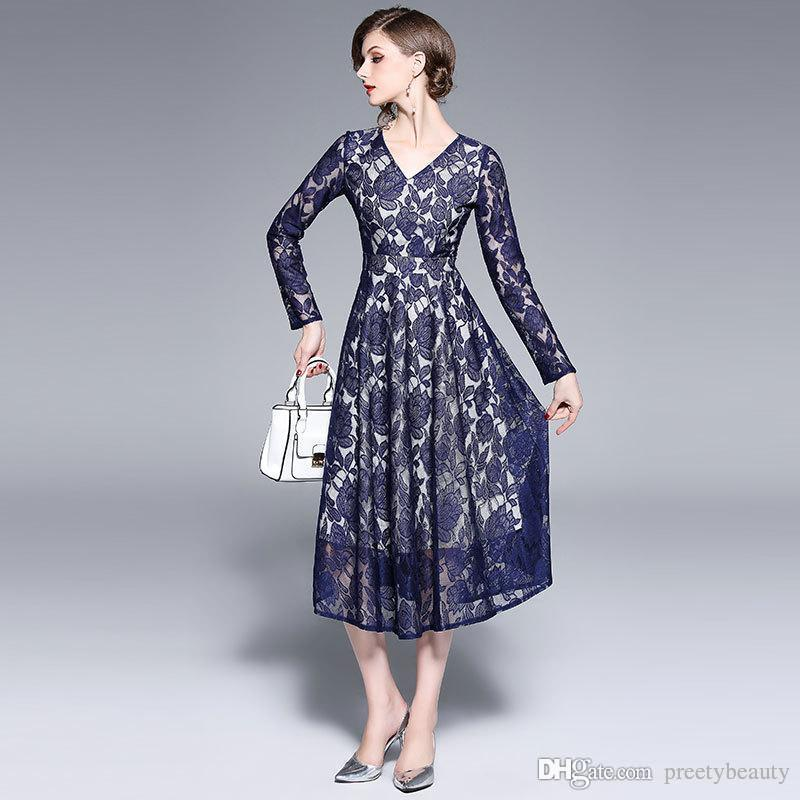 d25d317c1293 2019 Long Maxi Dress For Woman Tunic Dresses Formal Party Evening Ball  Gowns Female Slim V Neck Long Sleeve Autumn Pleated Lace Dress From  Preetybeauty, ...
