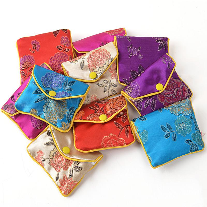 Floral Small Zipper Coin Pouch Jewelry Gift Bag Silk brocade Credit Card Holder Women Mini Wallet 6x8 8x10 10x12cm