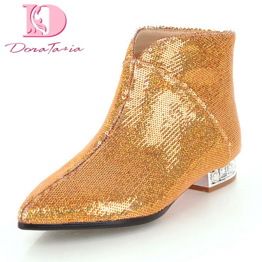 b6b05309 Compre DoraTasia 2018 Tamaño Grande 32 43 Lentejuelas Cremallera Botas De  Invierno Zapatos De Mujer Añadir Piel Añadir Piel Botines Femeninos Zapatos  ...