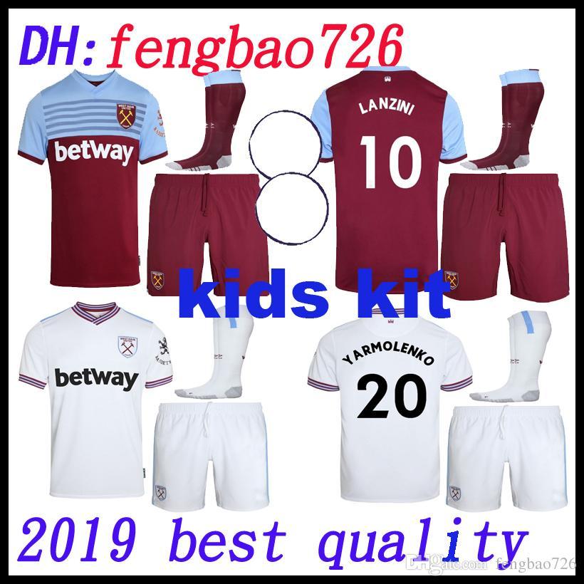 new style 51658 014fa kids kit 19 20 West Ham soccer jerseys United 2019 2020 home away Diop #8  Anderson WILSHERE Chicharito LANZINI ARNAUTOVIC football shirts