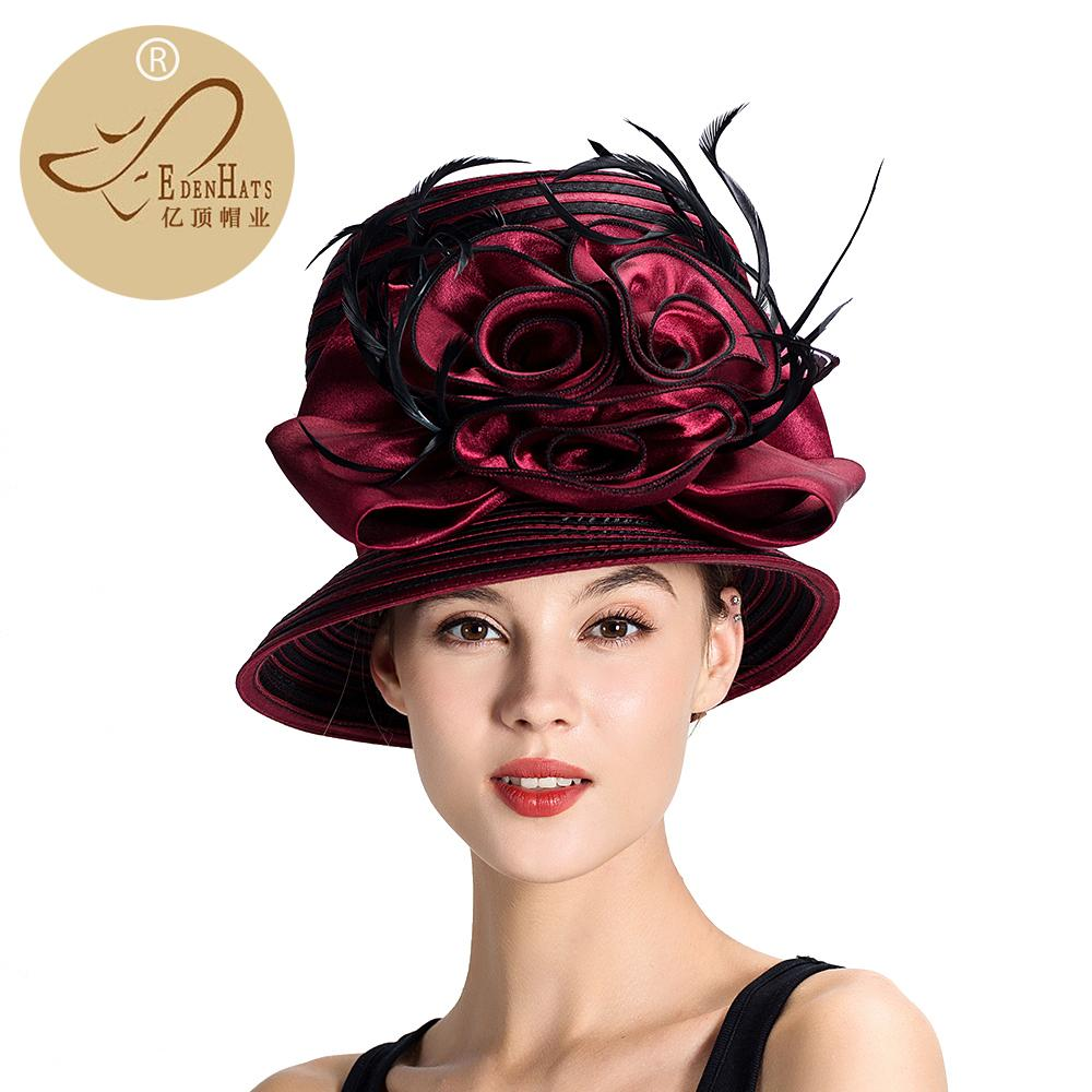 15161353aae Organza Church Hat For Women British Style Vintage Flower Decoration With  Feather Kentucky De S10 3495 D19011102 Tilley Hats Mens Hats From Yizhan03