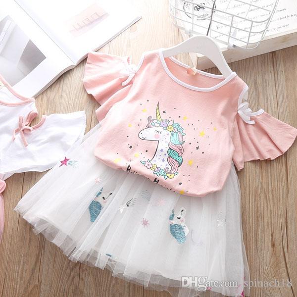 e26761644c2de Hot Summer Baby Girls Dress Set Girl Cartoon unicorn Tops T-shirt +  Embroidery Lace Skirt 2pcs Kids Set Children Outfits 4890
