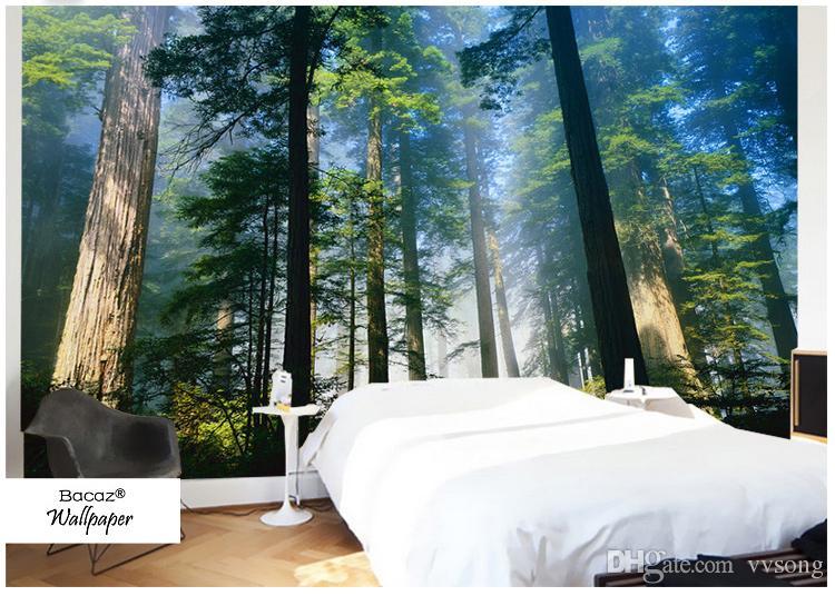 Großhandel 5D Papel Murals Wälder Tapete Natur Nebel Bäume 3d Wand ...