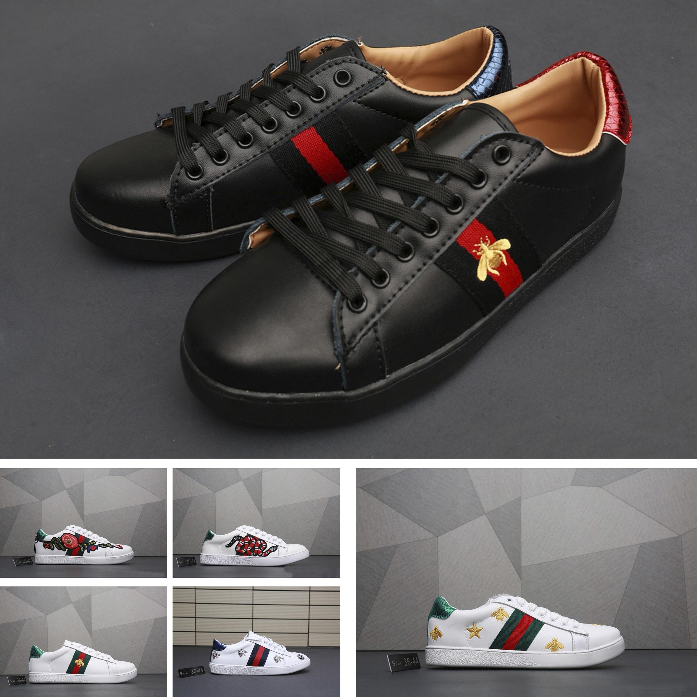 0c080258a Compre Gucci Men Shoes Gucci Shoes Women Superventas Zapatos Para Hombre  Blanco Abeja Blanca Amor Perla Remache De Lujo Zapatos Para Correr Hombres  Y ...