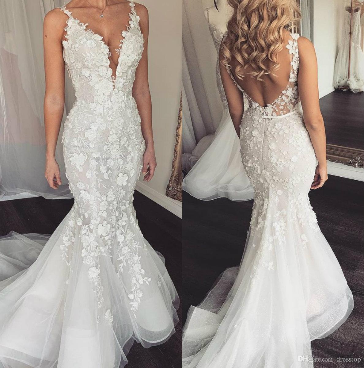 2d5bec57cb Elegant 2019 Mermaid Wedding Dresses V Neck Sleeveless Lace Bridal Gowns  Slim Fit Boho Vintage Beach Backless Wedding Dress Custom