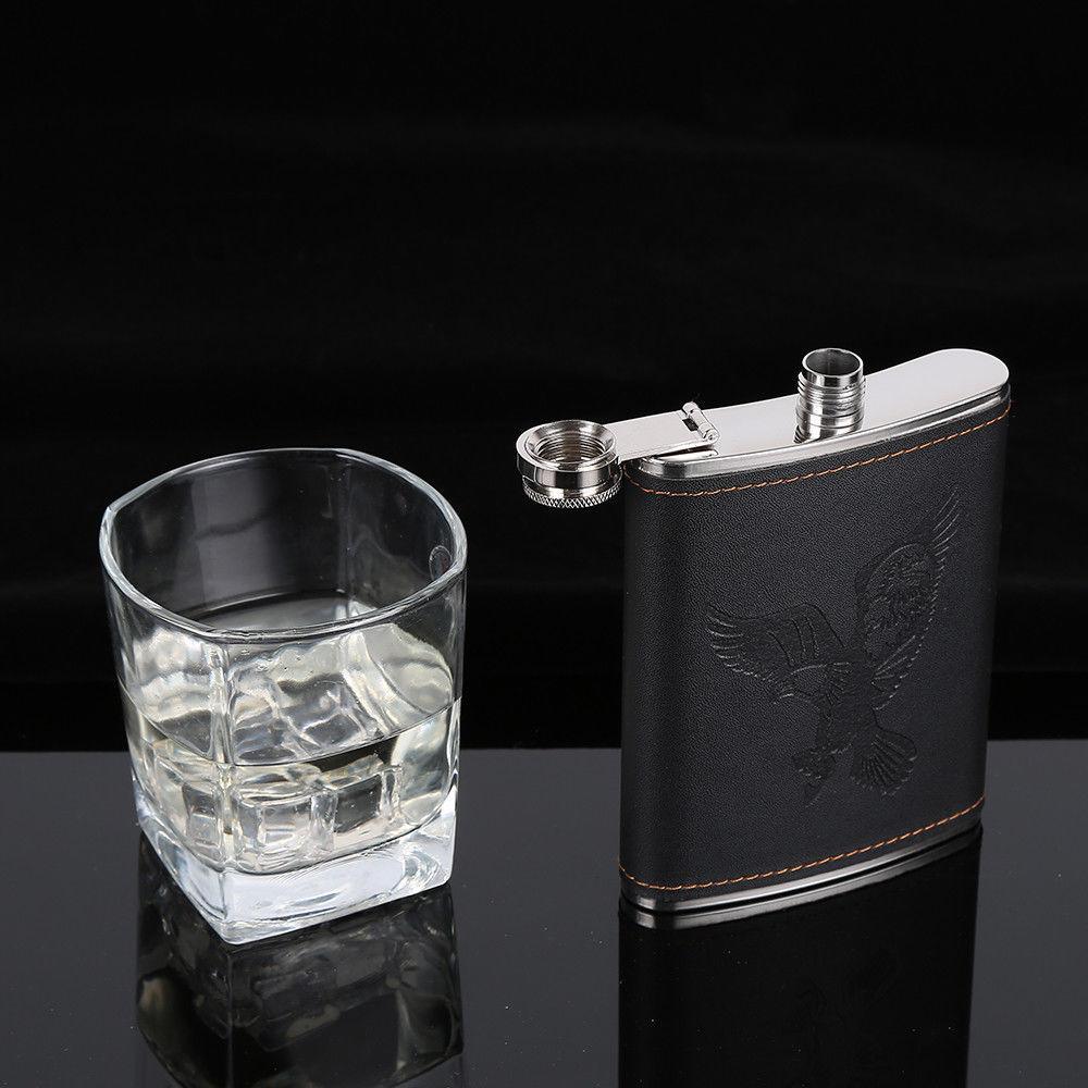 Edelstahl-Hüfte-Alkohol Alkohol Flasche Whiskey Cap 7,8,9oz Taschenweinflasche