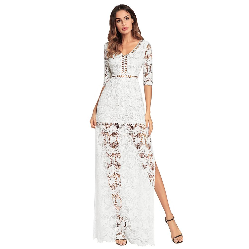 d05eb699473b 2019 New Sexy Summer Dress Women Hollow Out Crochet Lace Maxi Dress V Neck  Half Sleeve Thigh Slit Party Evening Long Dress Ropa Women Long Dress  Floral ...