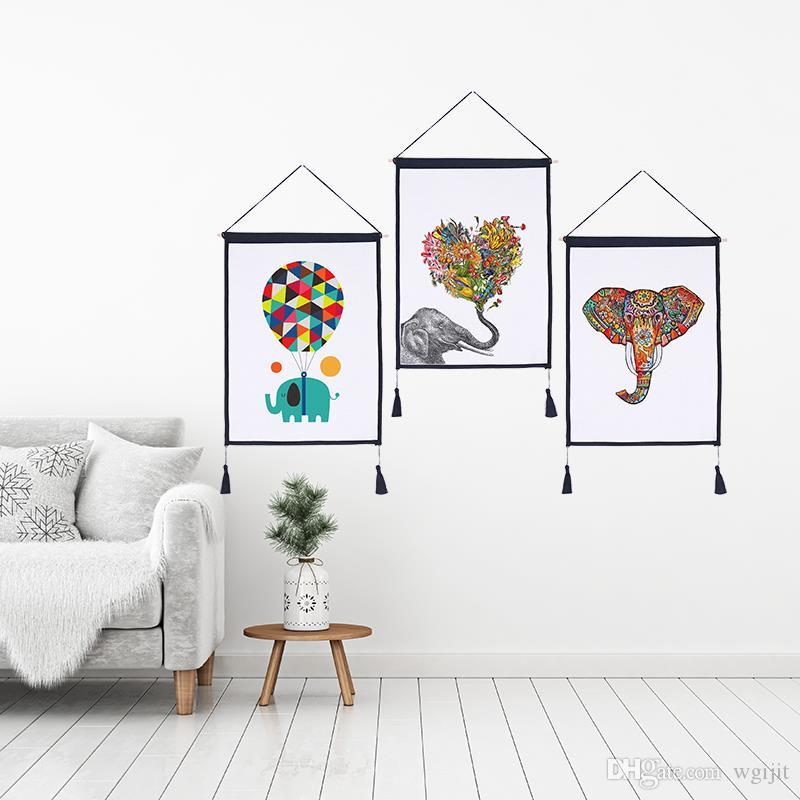 Decor Wall Scroll Hanging Tapestry Lovely Elephant Hanging Painting,Sofa Background Hanging Cloth,Corridor,Porch,Electric Meter Box
