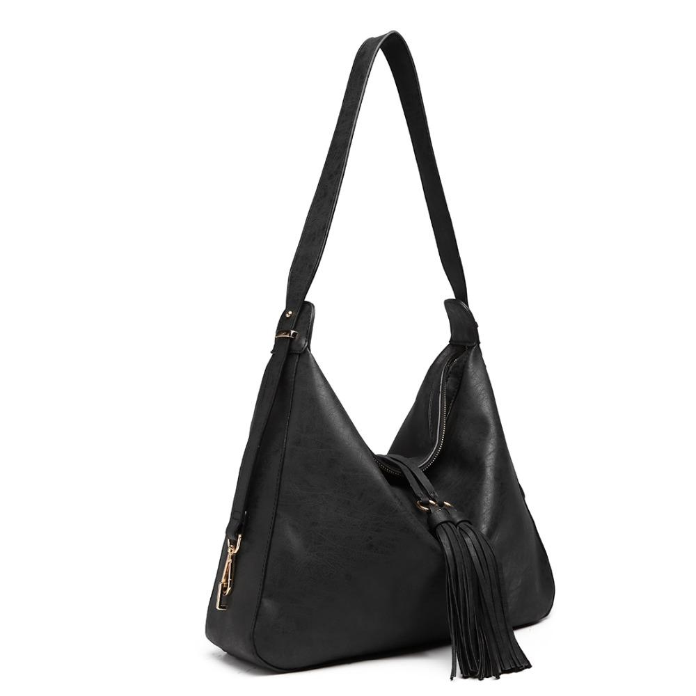 Miss Lulu Women Tassel Handbags Hobo Shoulder Bags Ladies Fashion Top-handle Bag Black Soft Synthetic Leather Totes LT6854