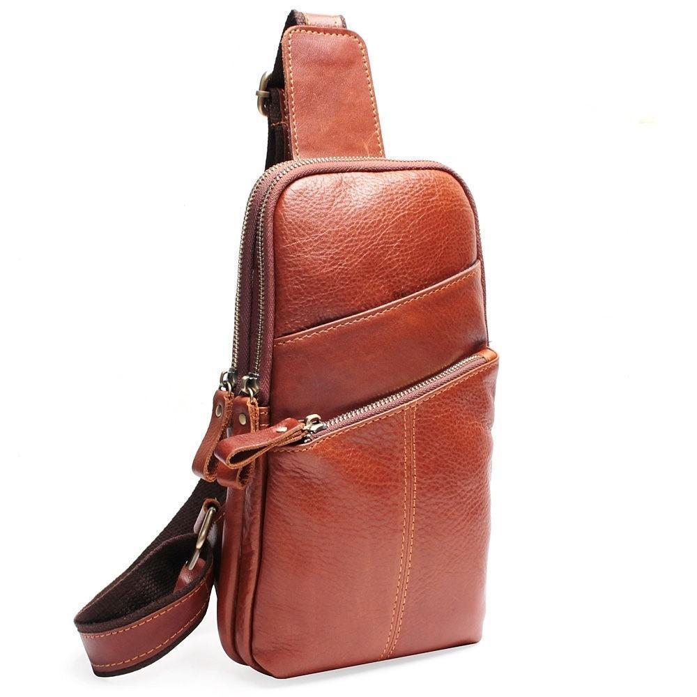 search for best provide plenty of unparalleled Men Messenger Leather Chest Pack Casual Men s Travel Shoulder Bag Chest Bag  For Men Women Leather Messenger Waist Bag
