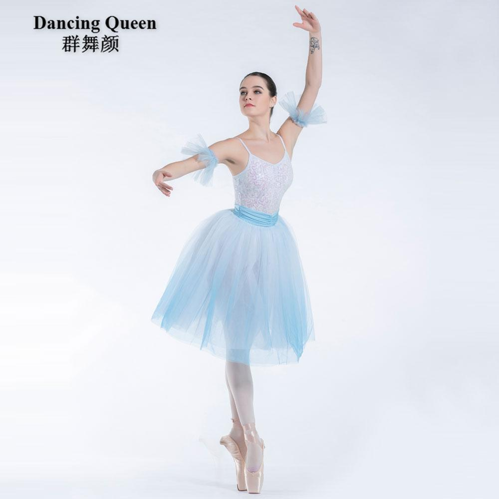 da1905528ede 2019 New! White Sequin With Ombre Blue Dress Romantic Long Ballet ...