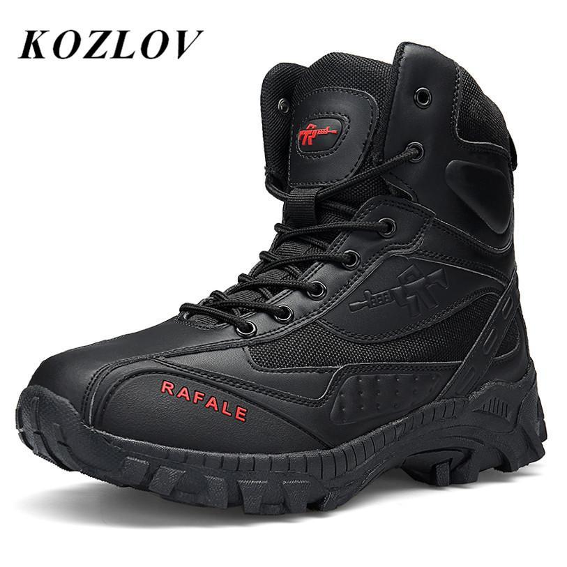 66164febb Compre Venta Al Por Mayor Botines Militares Para Hombre Zapatos De Cuero  Genuino Para Hombres Caza Botas De Trekking Hombres Ejército Botas Tácticas  Bot ...