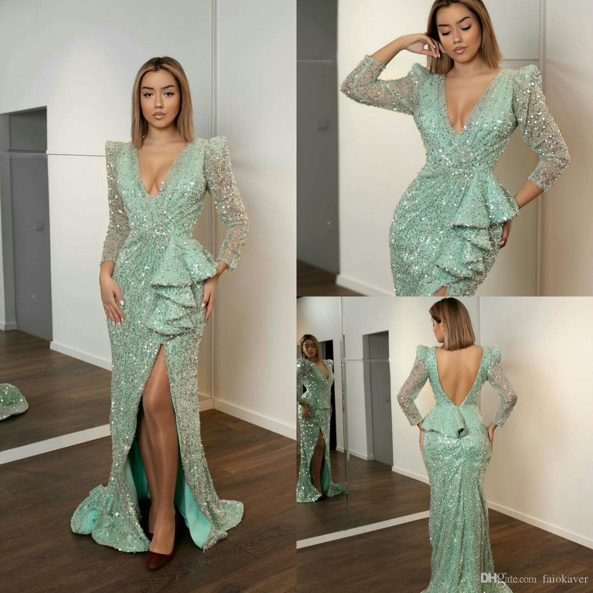 57fa12a56753 2019 Mint Green Prom Dresses V Neck Lace Sequined Side Split Sweep Train  Sexy Evening Dress Plus Size Long Sleeve Mermaid Party Gowns Prom Dress  Designers ...