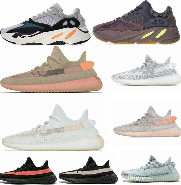 (With Box)2019 Salt INERTIA 700 Kanye West Wave Runner Static 3M Reflective Mauve Solid Grey Shoes Men Women Sports Sneaker Shoes size 36-46