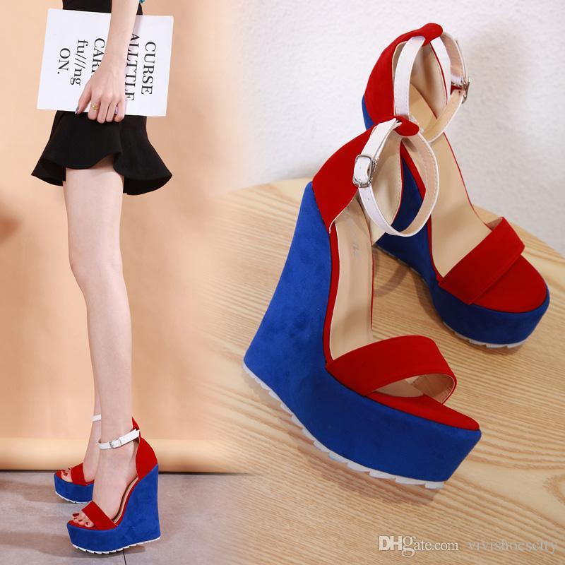 15cm Seksi mavi kırmızı platformu kama yüksek topuklu lüks kadın tasarımcı sandalet boyutu 35-40