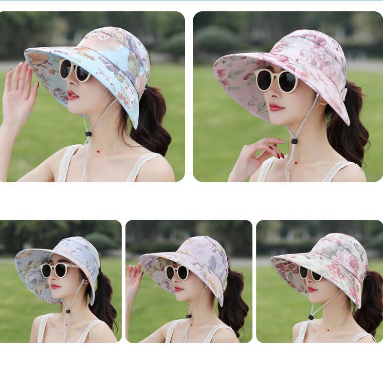 f2615851c225f Floral Sun Visor Hats Women Summer Wide Brim UV Protection Cap Outdoor Beach  Ponytail Hats OOA6602 Cool Hats Panama Hats From Shuaijinjin china