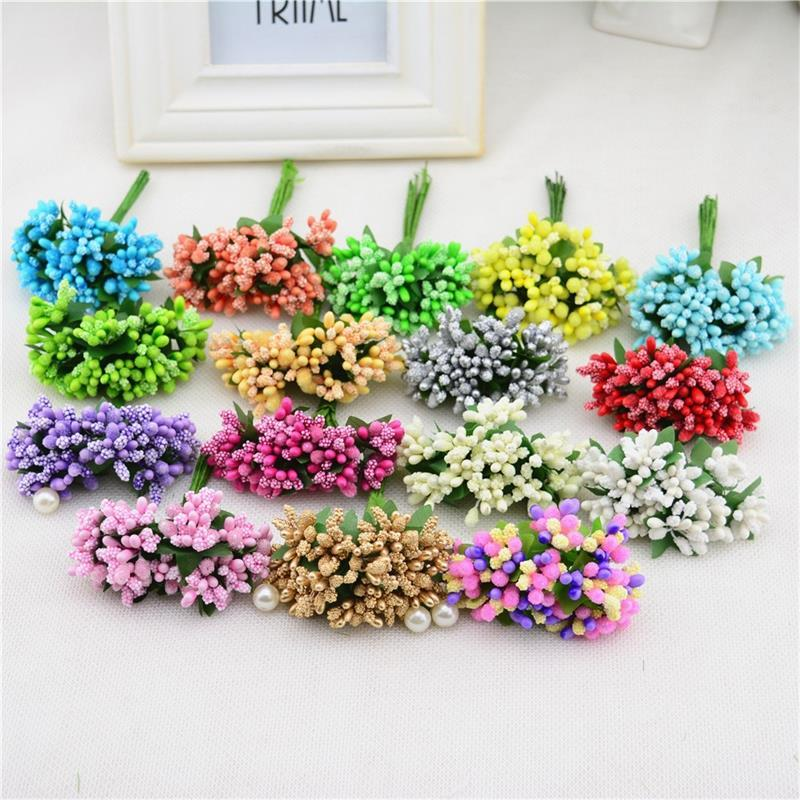 12pcs/lot stamen sugar handmade artificial flowers wedding decoration diy wreath needlework Gift box scrapbooking fake flower