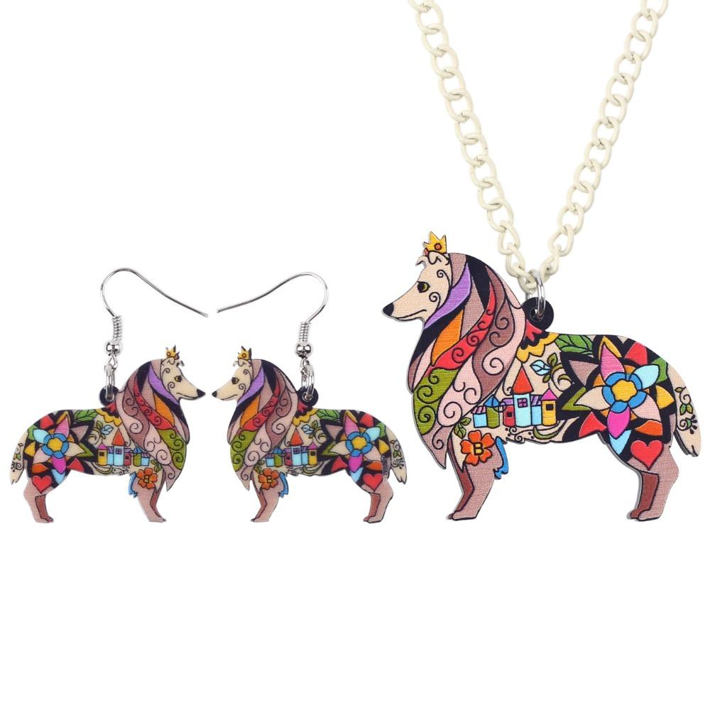 Bonsny Brand Jewelry Sets Acrylic Border Rough Collie Necklace Earrings Choker Collar Fashion Jewelry New Spring Women Girl Gift