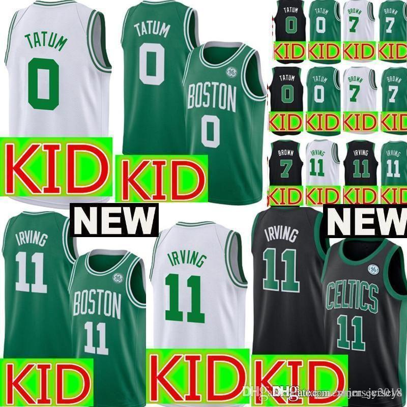 super popular 1c001 aeed5 Kids Boston Kyrie 11 Irving Celtics Jersey Youth Jayson 0 Tatum Jaylen 7  Brown Basketball Jerseys Cheap sales Embroidery Logos