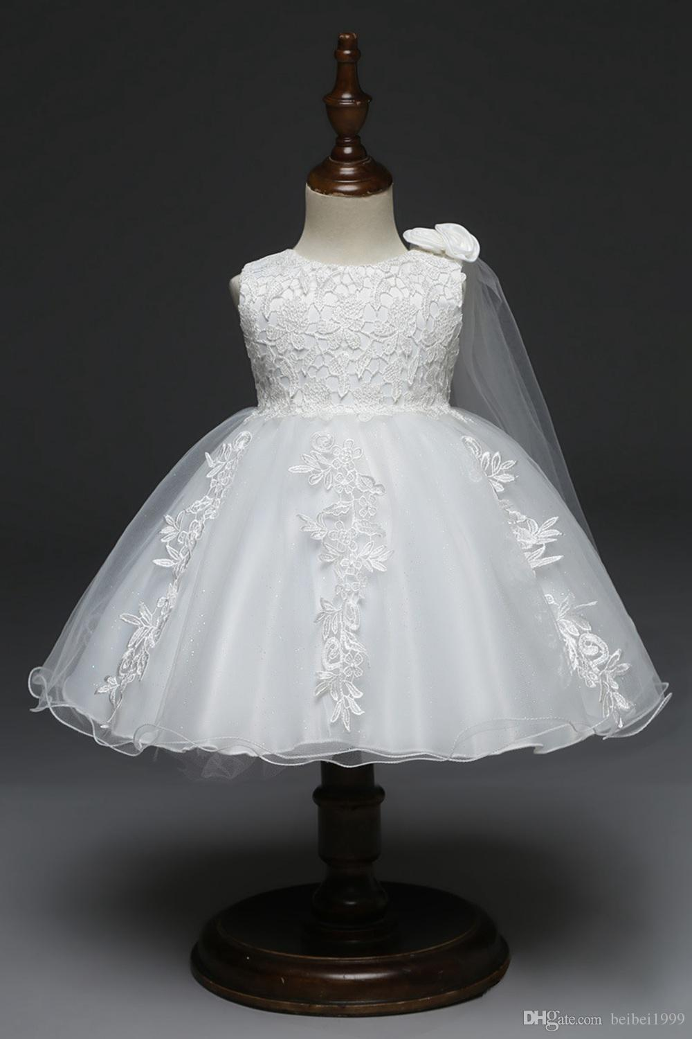 bedec363b827 2019 Beautiful Flower Girl Dresses for Weddings White Pink Lace Short  Sleeves Appliques Kids Formal Wear First Communion Dress Kids Dresses  Flower Girls' ...