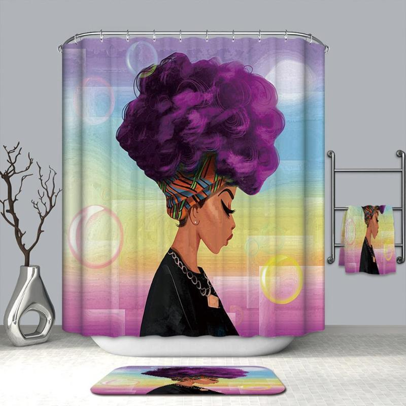 2019 180x180cm African Woman Shower Curtains Waterproof Polyester Fabric Bathroom Screen For Bath Home Decoration C18112201 From Mingjing03