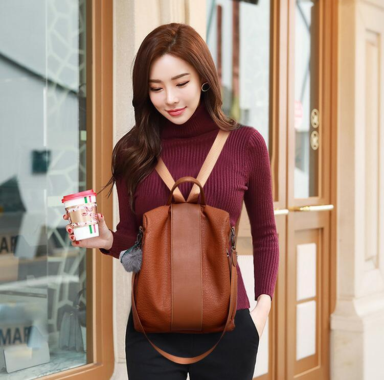 Ladies Korean version of the new wild washed leather handbags multi-purpose dual-use shoulder soft leather backpack free shipping#005
