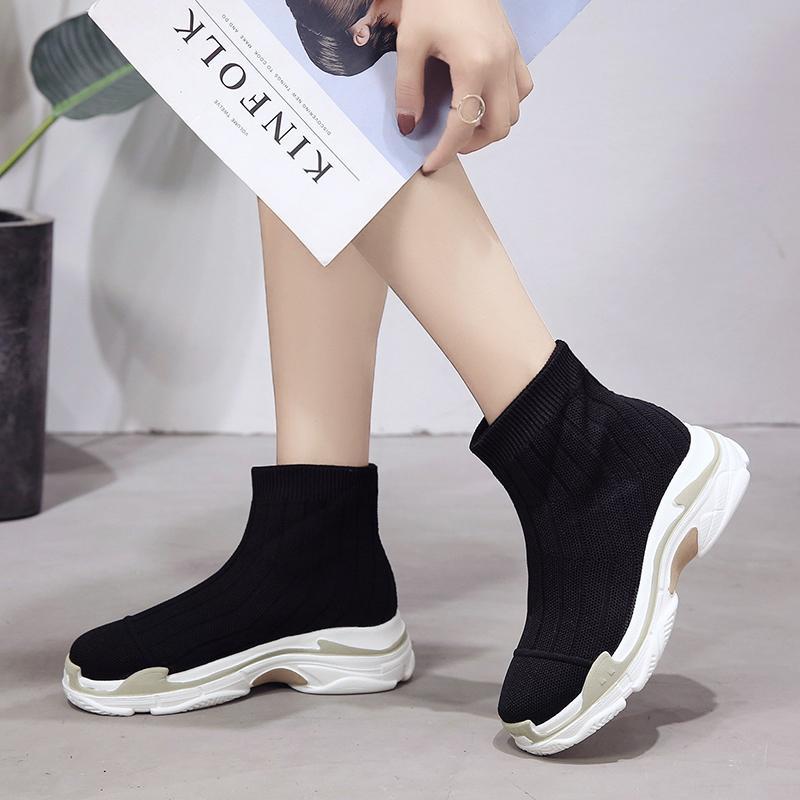 0c7adfe1f40ce9 Acheter Automne Haut Baskets Montantes Femmes Plateforme Bottines En Maille  Slip Sur Chaussette Chaussures Femme Botas Mujer 2018 Noir Jaune Rose De  $64.33 ...