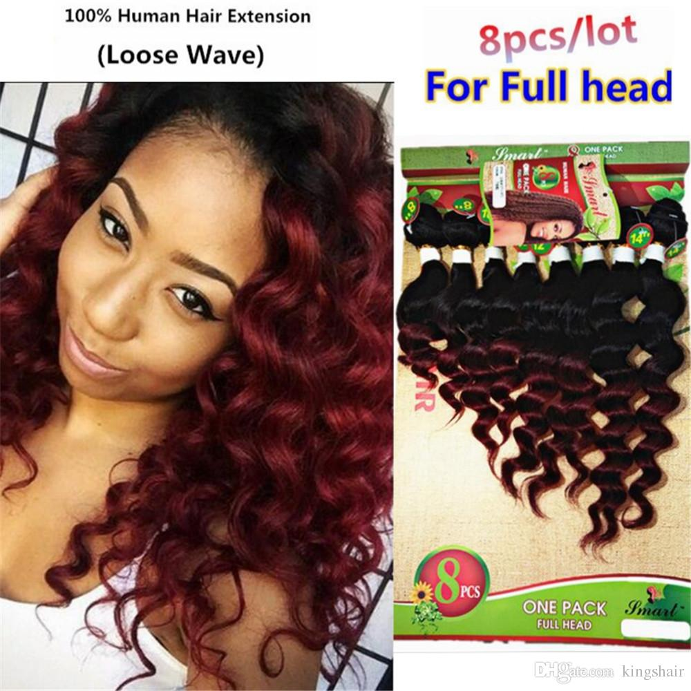8-14 Inch 8 PCS for full head brazilian deep wave hair T1B/BUG kinky curly bundles loose wave hair natural black weave weft hairpiece