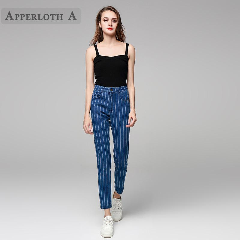 00e29529e60a 2019 2019 Jeans Female Denim Pants Navy Blue Striped Womens Jeans Mid Waist  Elastic Skinny Pants For Women Ankle Length Trousers From Gloriana, ...