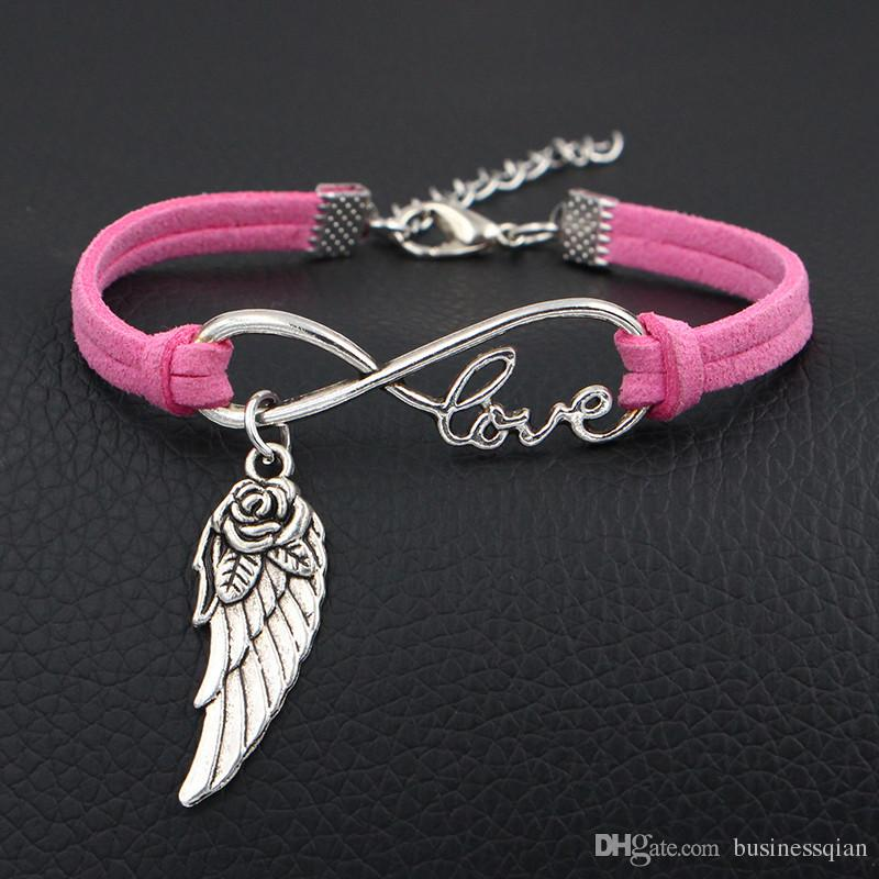 New Handmade Couples Cool Punk Pink Leather Suede Bracelets & Bangles For Women Men Infinity Love Flower Wing Angel Accessories Jewelry Gift